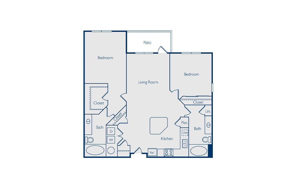Barton - 2 bedroom floorplan layout with 2 baths and 1200 square feet.