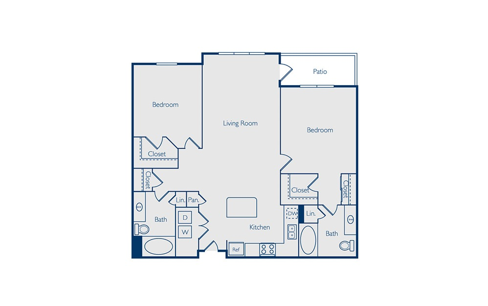 Buchanan - 2 bedroom floorplan layout with 2 baths and 1132 square feet.