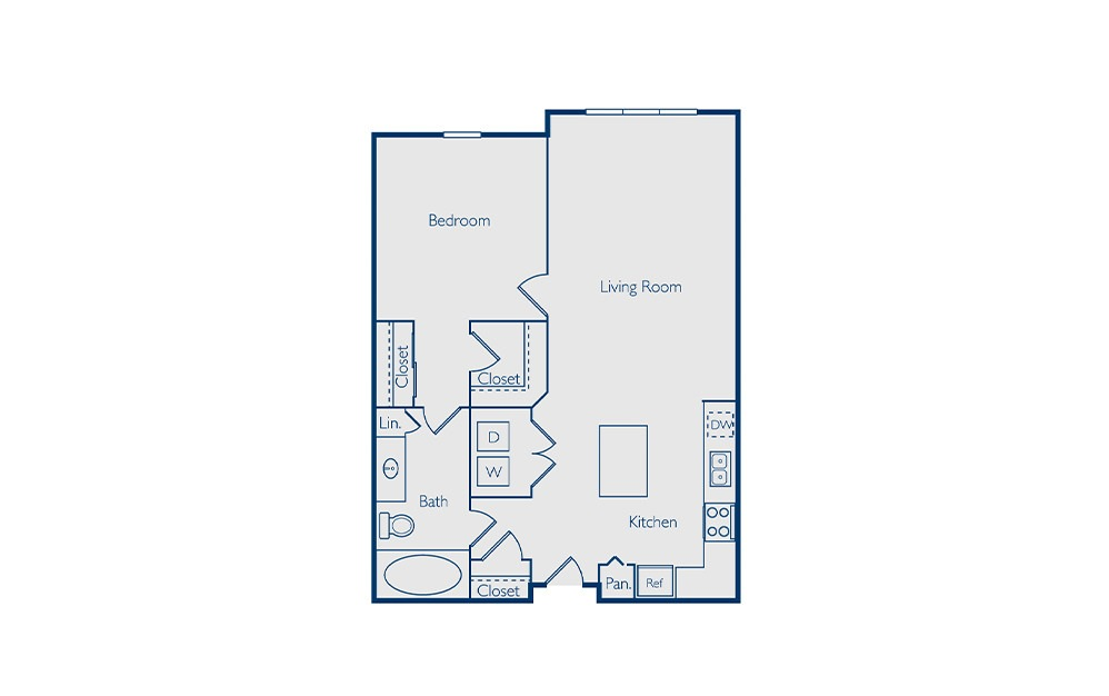Copeland - 1 bedroom floorplan layout with 1 bath and 773 square feet.