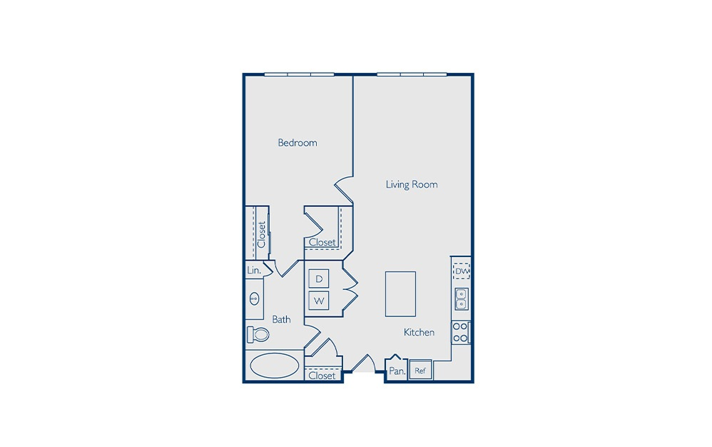 Davis - 1 bedroom floorplan layout with 1 bath and 798 square feet.