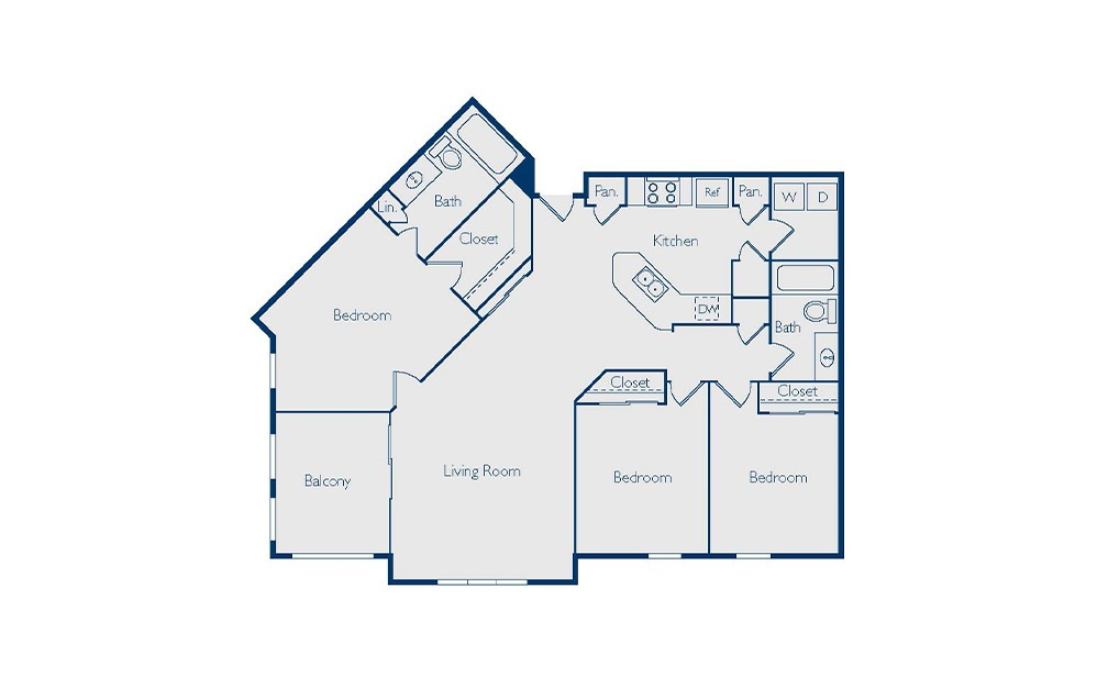 Fairview - 3 bedroom floorplan layout with 2 baths and 1368 square feet.