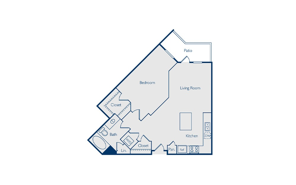 Highland - 1 bedroom floorplan layout with 1 bath and 782 square feet.