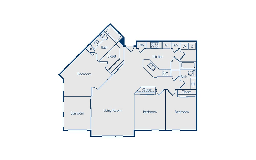 Maitland - 3 bedroom floorplan layout with 2 baths and 1467 square feet.