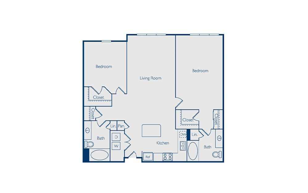Nona - 2 bedroom floorplan layout with 2 baths and 1200 square feet.