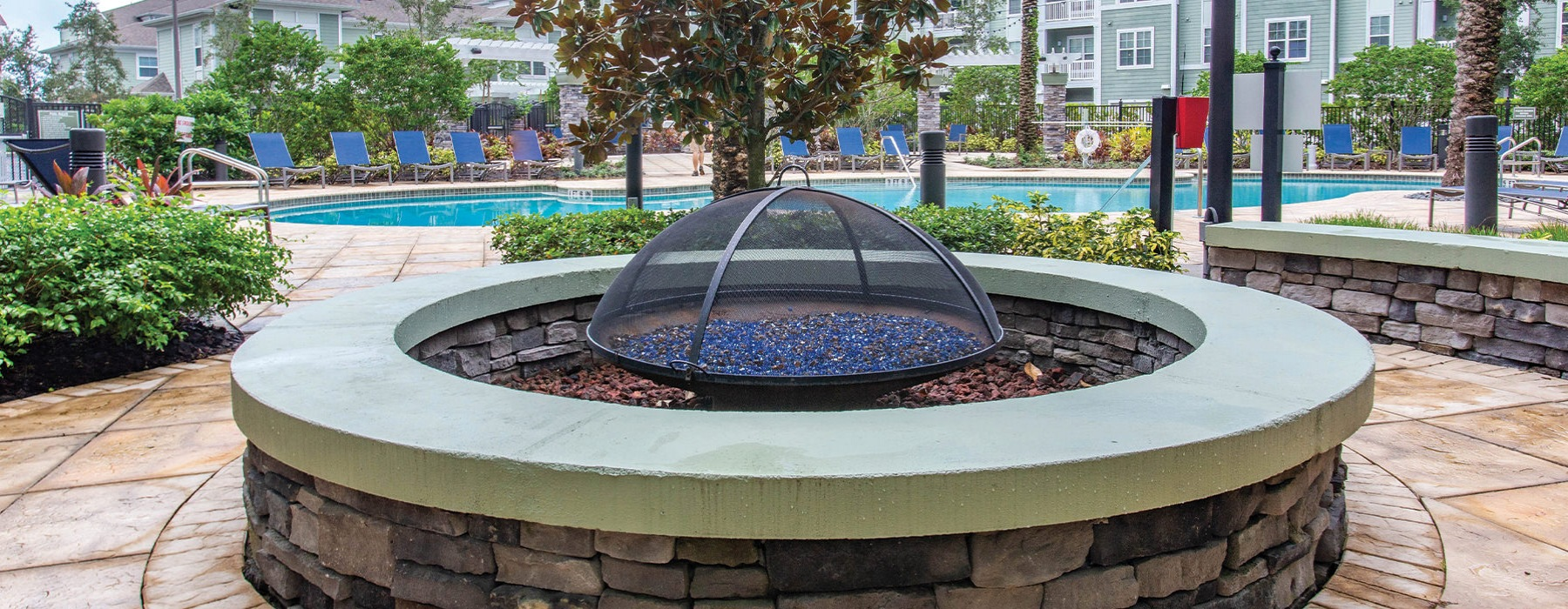 Fire pit near the pool